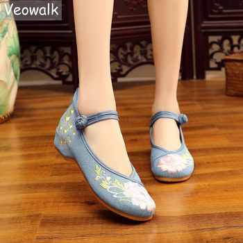 Veowalk Chinese Embroidered Women Denim Ballet Flats Retro Vintage Ladies Casual Soft Canvas Comfortable Walking Driving Shoes - discount item  41% OFF Women's Shoes