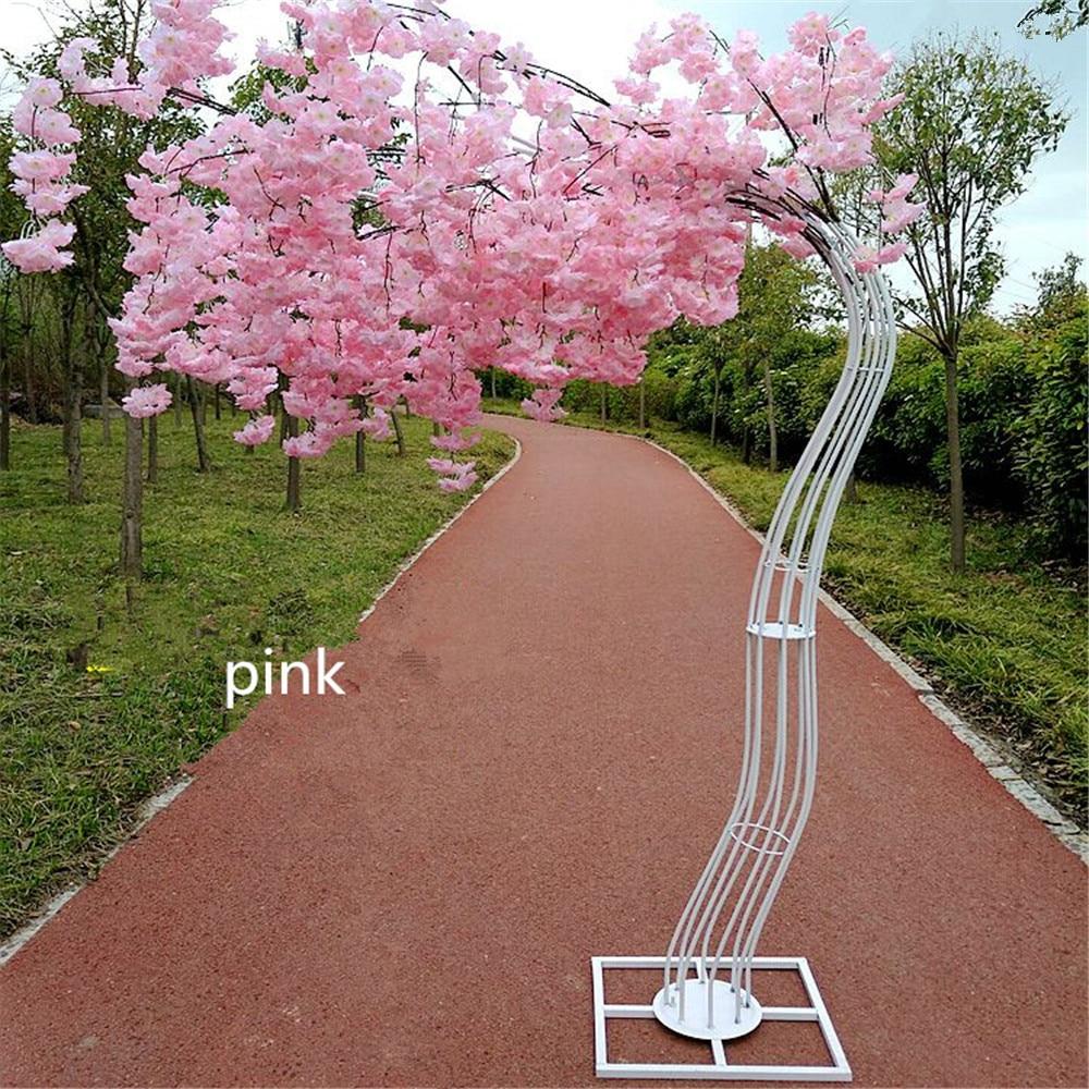 Partij decoratie 2.6M hoge witte kleur kersenboom metalen road leidt tot wedding runner gangpad kolom mall deur decoratie frame - 5