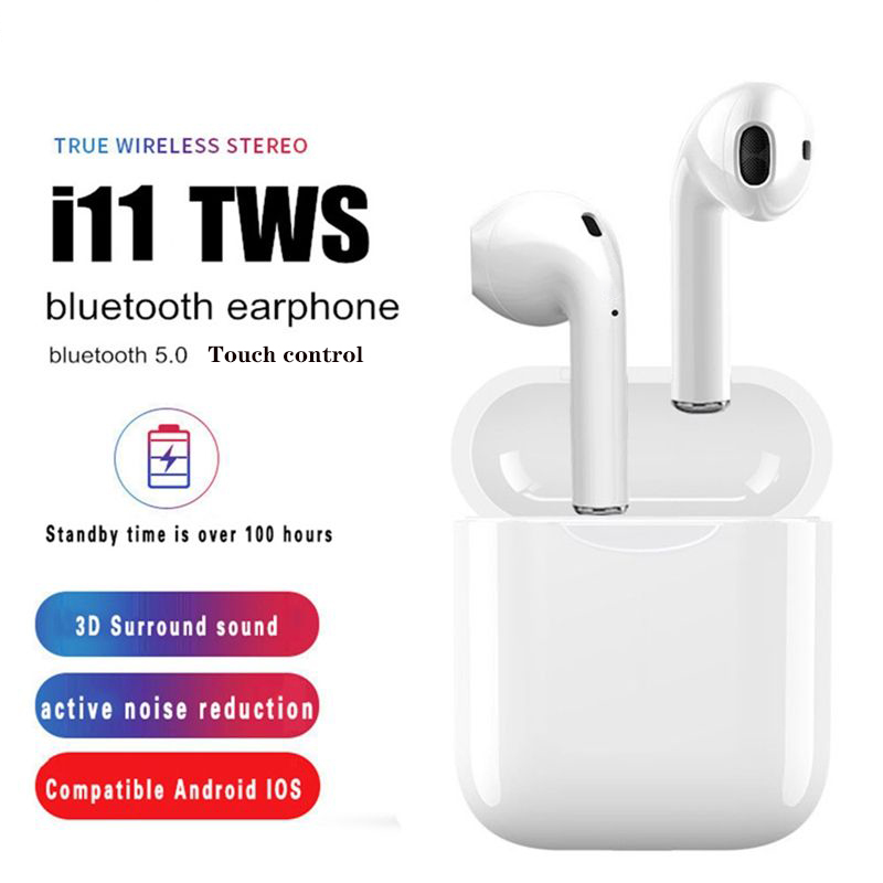 New i11 TWS Bluetooth Earphone <font><b>5</b></font>.<font><b>0</b></font> in ear mini air Wireless Headsets Bass stereo Earbuds for iPhone Android PK i12 I9s i7s tws image