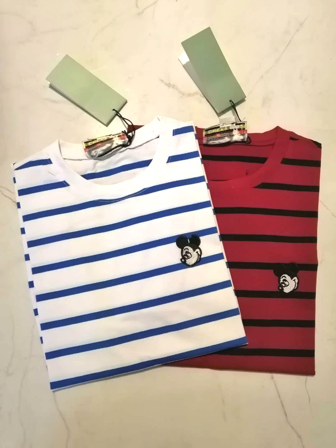 2020 Spring Summer Women Stripe Cartoon Mickey Embroidery Short Sleeve T-shirt Round O Neck G1
