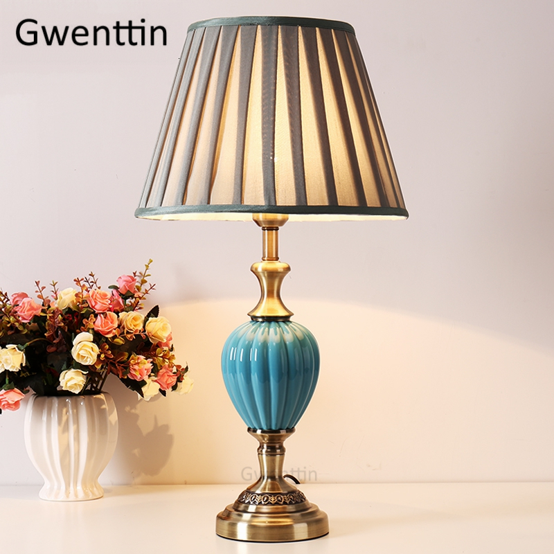 Vintage Ceramic Fabric Table Lamps Nordic Desk Lights Led Stand Light Fixtrues for Bedroom Lamp Living Room Art Decor Luminaire|LED Table Lamps| |  - title=