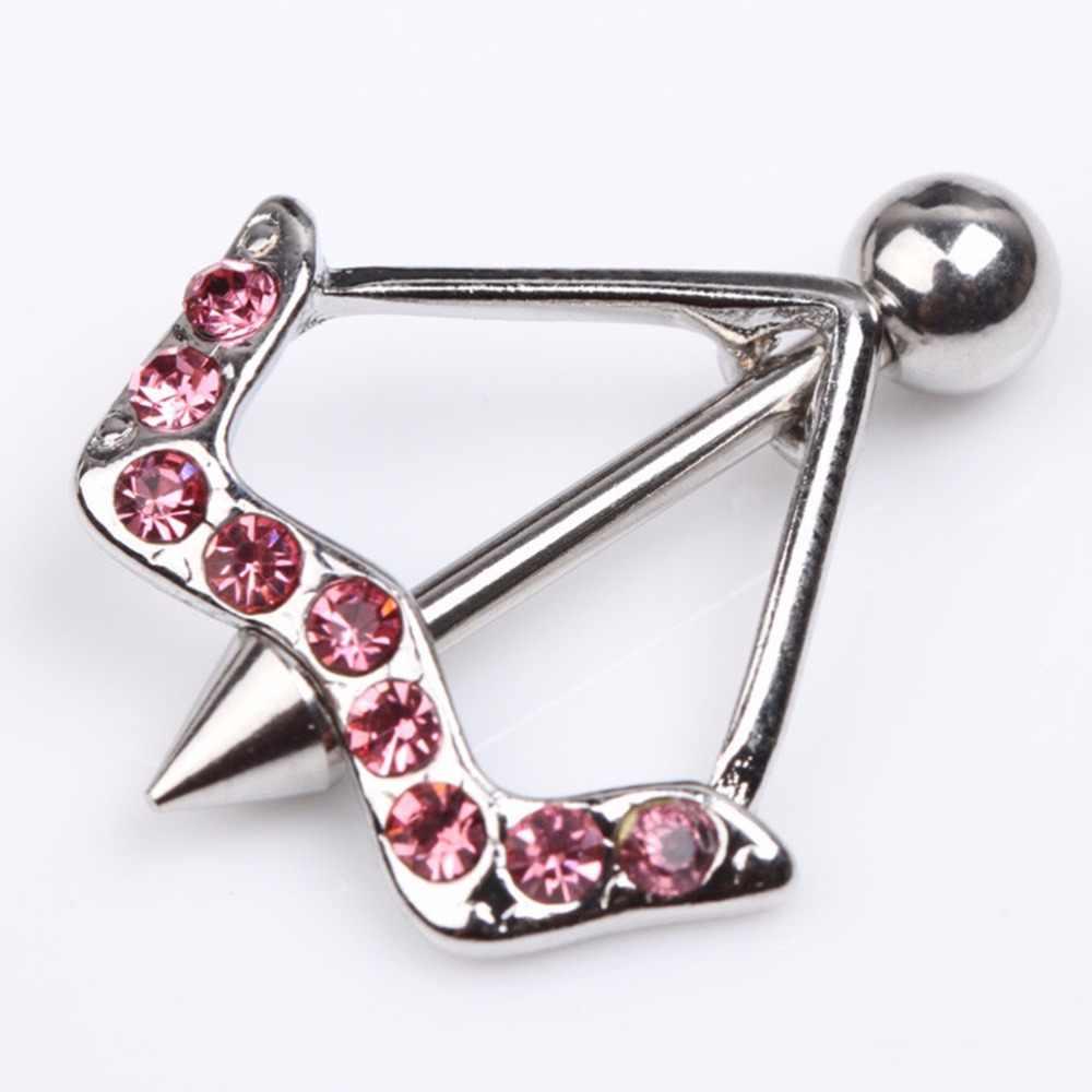 1 قطعة خاتم الحلمة تصميم زينت بواسطة بلورات النساء ثقب مجوهرات للجسم الوردي/الأبيض 316L الجراحية الصلب