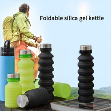 Silicone Portable Water Bottle Retractable Folding Coffee Outdoor Travel Drinking Collapsible Sport Drink Kettle 500ML