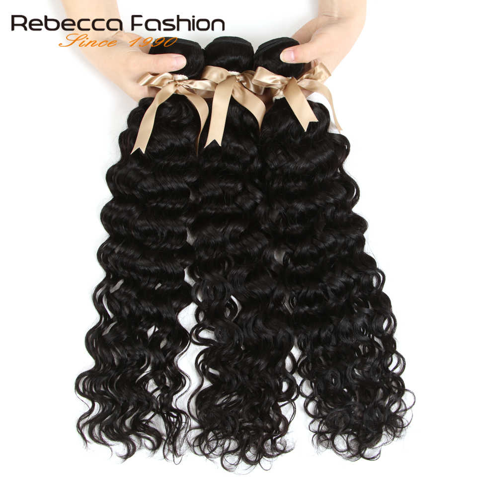 Rebecca Brazilian Water Wave Bundles 10-28 Inch 1/3/4 Pcs 100% Human Hair Bundles Remy Hair Extensions