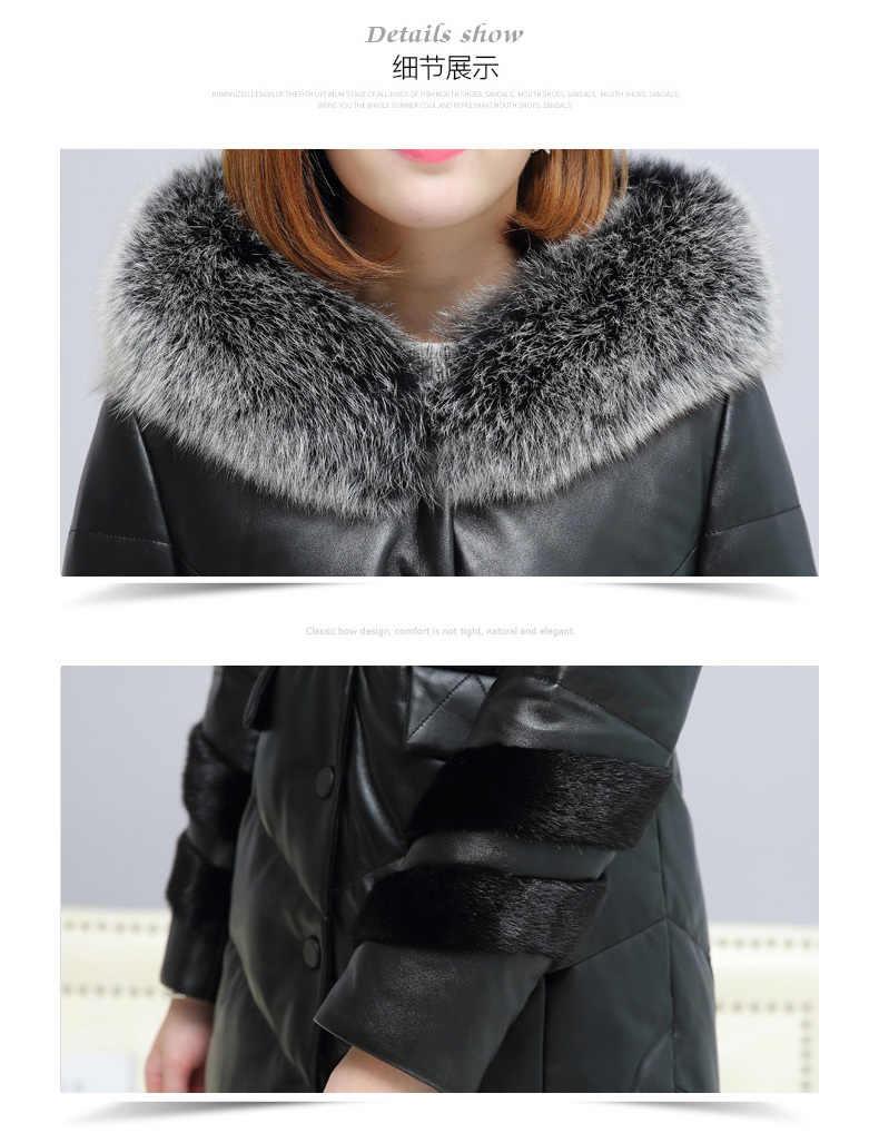 Schaffell 100% Mantel Weiblichen Echtem Leder Jacke Winter Jacke Frauen Fuchs Pelz Kragen Lange Unten Jacken Plus Größe 6xl MEIN s
