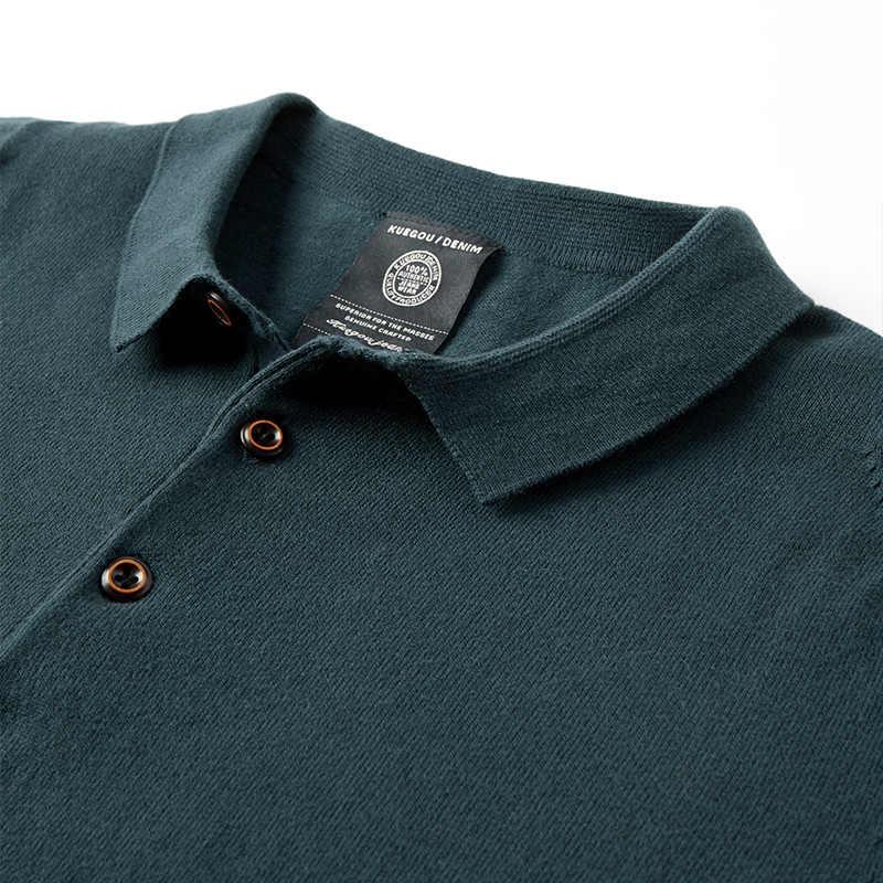 KUEGOU 브랜드 여름 폴로 셔츠 반팔 니트 남성 비즈니스 캐주얼 탑 폴로 셔츠 그린 탑 플러스 사이즈 AZ-17047