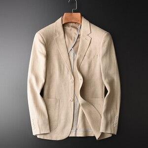 Мужской однобортный пиджак, повседневный пиджак из 90% льна и хлопка, размеры: 90%, HX1806, весна-осень, 2019