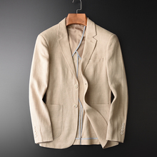 Blazer Man New 90% Linen 10% Cotton Suit Jacket Spring Autum