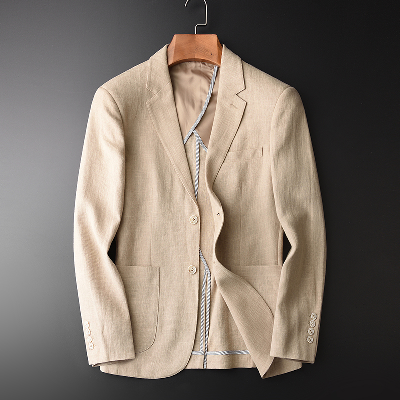 Blazer Man New 90% Linen 10% Cotton Suit Jacket Spring Autumn Casual Male Single Breasted High Quality Size M-4XL #HX1806