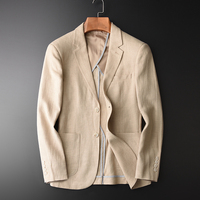 Blazer Man New 90% Linen 10% Cotton Suit Jacket Spring Autumn Casual Male Single Breasted High Quality Size M 4XL #HX1806
