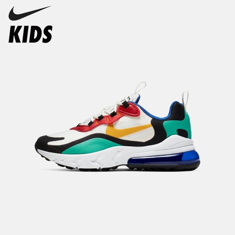 NIKE AIR MAX 270 REACT(GS) Original Kids Shoes Air Cushion Children Running Shoes Comfortable Sports Sneakers #BQ0102-001