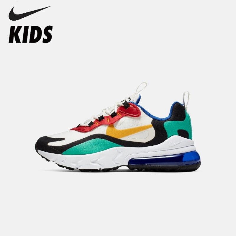 Nike air max 270 react (gs) crianças originais sapatos almofada de ar tênis de corrida confortáveis esportes # BQ0102-001