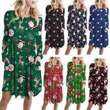 2019 Women Spring Autumn Santa Claus Print Dress O-neck Long Sleeve Swing Casual Loose Party Christmas Mini Dresses long sleeve elk print christmas mini swing dress