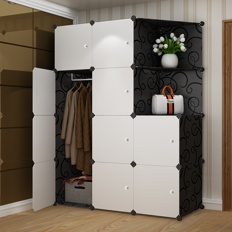 Simple wardrobe adult assembly resin wardrobe manufacturers direct sales of dormitory simple modern economic finishing cabinets 2