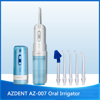 AZDENT AZ-007 irygator doustny akumulator USB akumulatorowa woda do czyszczenia zębów podróż składana 5 końcówek odrzutowych 4 tryby dorosłe dziecko tanie i dobre opinie CN (pochodzenie) Elektryczny irygator do jamy ustnej dla dorosłych Approx 500g 5 pcs jet tips 4 pressure setting(Normal Soft Pulse $ Sinus)