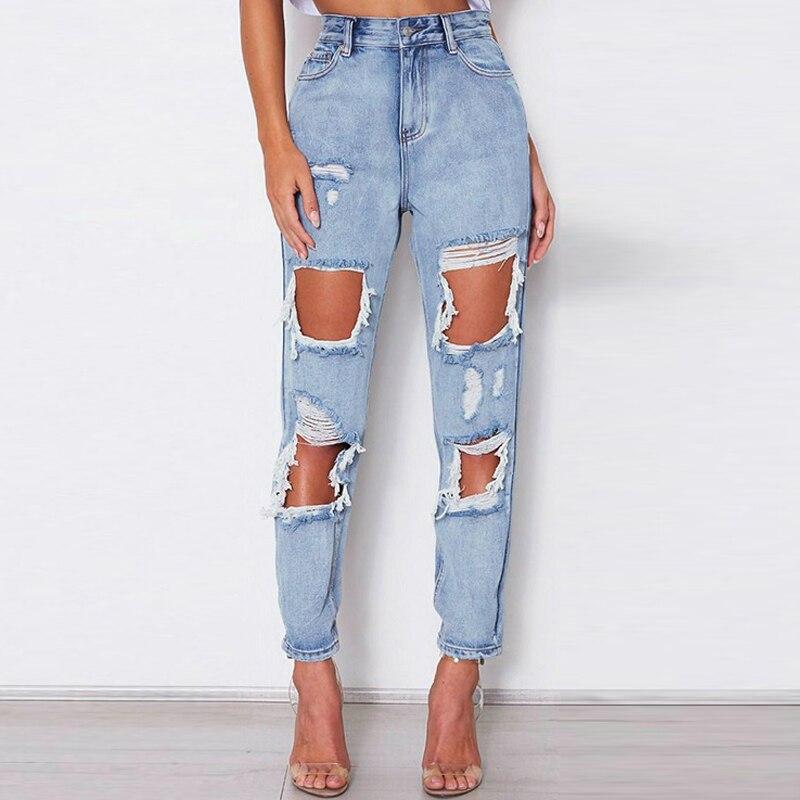 Sexy Ripped Jeans Beggar Women Big Holes Destroyed Broken Torn Pants Vintage Female Denim Trousers Distressed Designer Boyfriend