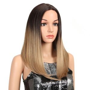 Image 3 - Peluca con malla frontal para mujeres negras cabello liso degradado de Color mágico de 18 pulgadas, pelucas africanas y americanas, pelo sintético resistente al calor