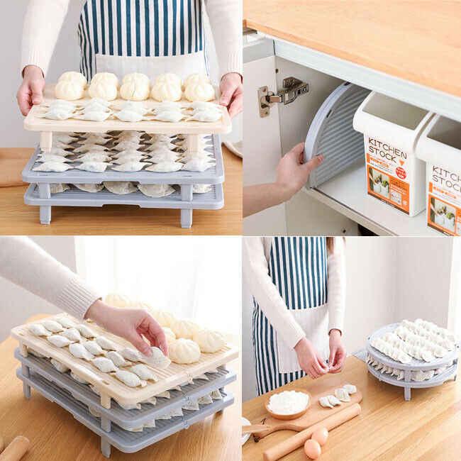 2020 Non-SLIP เกี๊ยวจัดเก็บพลาสติกสามารถซ้อนทับอบขนม Pastry ผู้ถือถาดเครื่องมือทำอาหารอุปกรณ์เสริมสำหรับห้องครัว