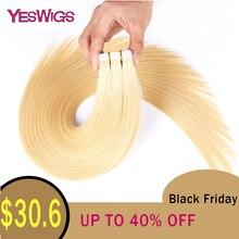 YesWig пряди человеческих волос для наращивания бразильские Прямые кожные уток ПУ волосы#1# 1B#2#4#6#8#22#613# P27/613 20 шт./лот