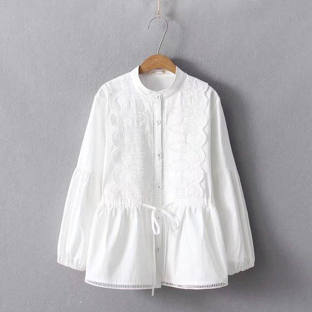 Solid White Embroidery Stand Collar Long Sleeve Blouse Shirt Top