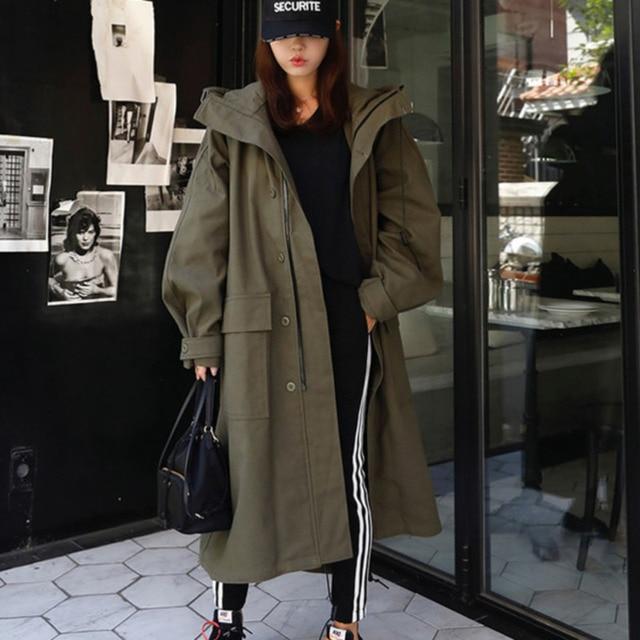 LANMREM Army Green Hooded Long Sleeve Pocket Single Breasted Loose Windbreaker Woman Casual Fashion 2020 Spring Coat New TV863