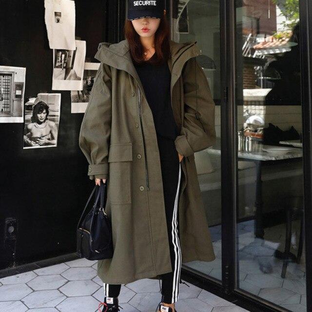 LANMREM ejército verde con capucha de manga larga de bolsillo de un solo pecho suelta cazadora mujer Casual moda 2020 primavera abrigo nuevo TV863
