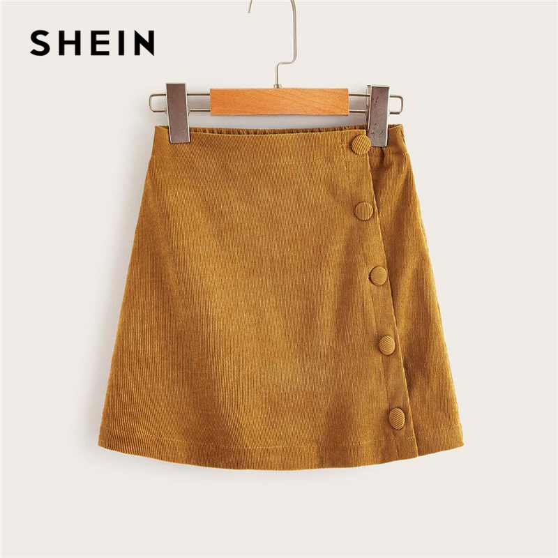 SHEIN Kiddie Girls Solid Button Front Casual Mini Skirt Kids Bottoms 2019 Spring High Waist Teenagers Wraped Corduroy Skirts
