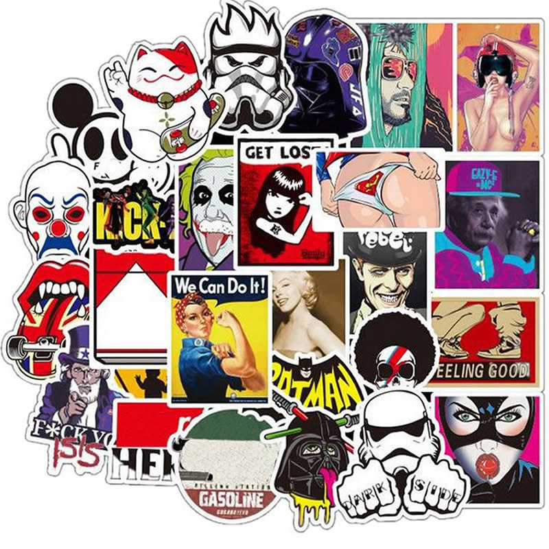 50pcs Pack Waterproof <font><b>Anime</b></font> Cartoon <font><b>Sexy</b></font> <font><b>Stickers</b></font> Skateboard Luggage Suitcase Motorcycle Guitar Laptop <font><b>Stickers</b></font> Kids Classic Toy image