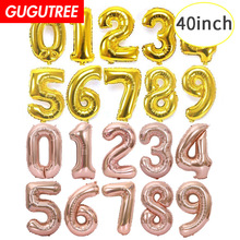 40inch rose Gold Silver big size Number balloon Foil Helium Balloons Birthday Party Celebration decoration large globos HY-53