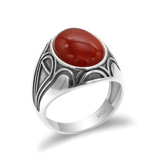 Solid 925 Sterling Silver Men Ring with Big Red Natural Onyx Stone Ring Vintage Thai Silver Turkish Handmade Jewelry for Male Gift(China)