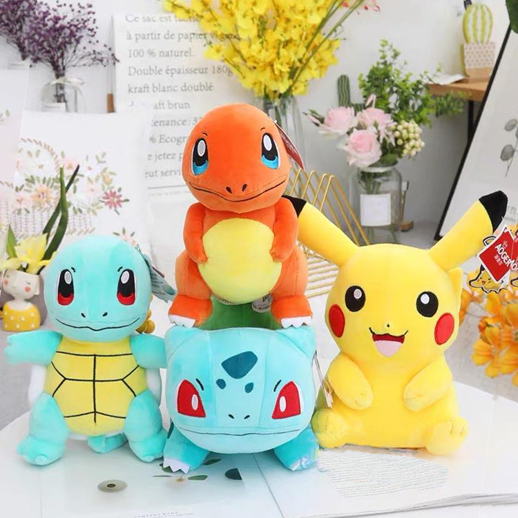 Japan Anime Charmander Pikachued plush toy Squirtle Bulbasaur Jigglypuff Lapras Eevee pokemoned Peluche Christmas gift for kids 1