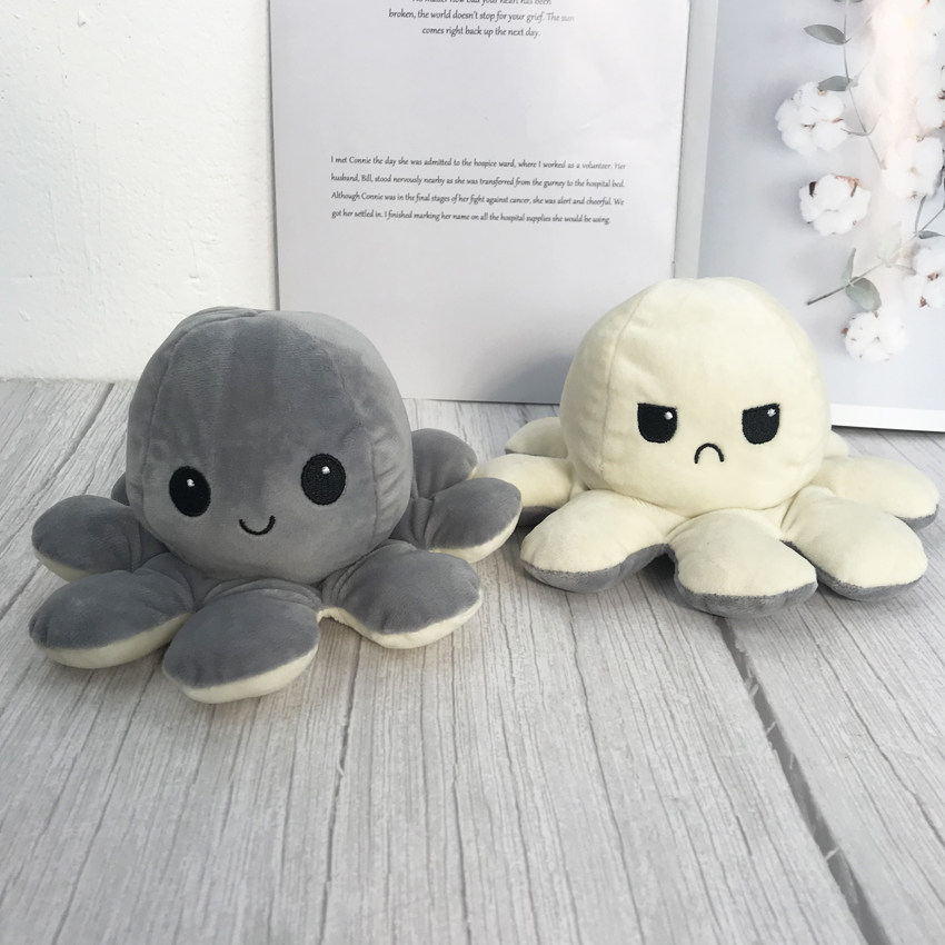 20cm Reversible Plush Toy Color Chapter Plush Doll Filled Plush Flip Toy Blue/Green Plush Toy Doll Parent-Child Game Toy