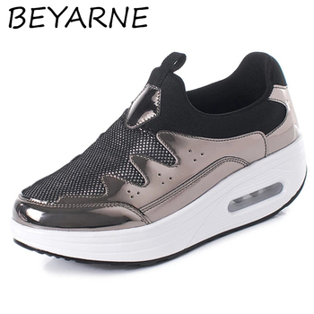 BEYARNE klinowe tenisowe wyszczuplające tonujące buty grube dno zwiększają buty na platformie damskie buty Fitness amortyzator skaczący but tanie i dobre opinie CN (pochodzenie) podstawowe Neopren Otwarta RUBBER sandały Med (3 cm-5 cm) 0-3 cm Na co dzień Wsuwane Dobrze pasuje do rozmiaru wybierz swój normalny rozmiar