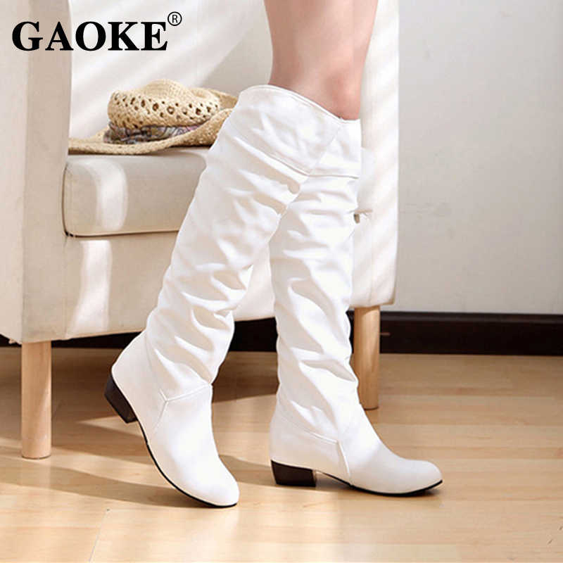 WinterWoman Schuhe Stiefel Plattform Gummi Stiefel Schwarz Weiß Niedrigen Ferse Knie Stiefel Herbst Dame Ferse Schuhe Knie Hohe Schuhe