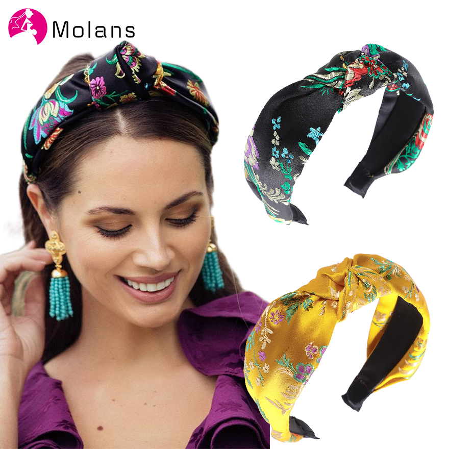 MOLANS Vintage Chinese Style Flower Embroidery Headbands Girls Women Turban Knotted Headband Hair Accessories Headwrap Female