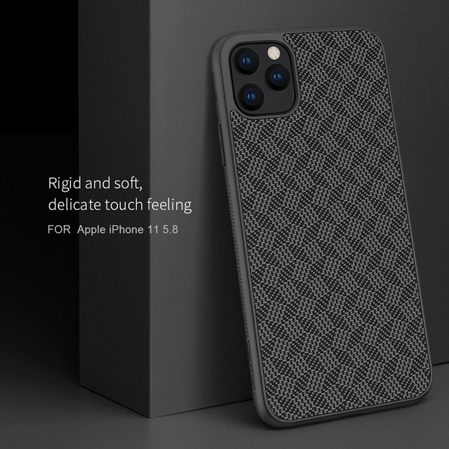 For iPhone 11 Pro Max Case NILLKIN plaid Synthetic Fiber Carbon PP Plastic Phone Case for iPhone 11 Pro 5.8/6.1/6.5 inch cover