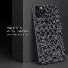 Pour iPhone 11 Pro Max étui NILLKIN plaid fibre synthétique carbone PP plastique téléphone étui pour iPhone 11 Pro 5.8/6.1/6.5 pouces couverture
