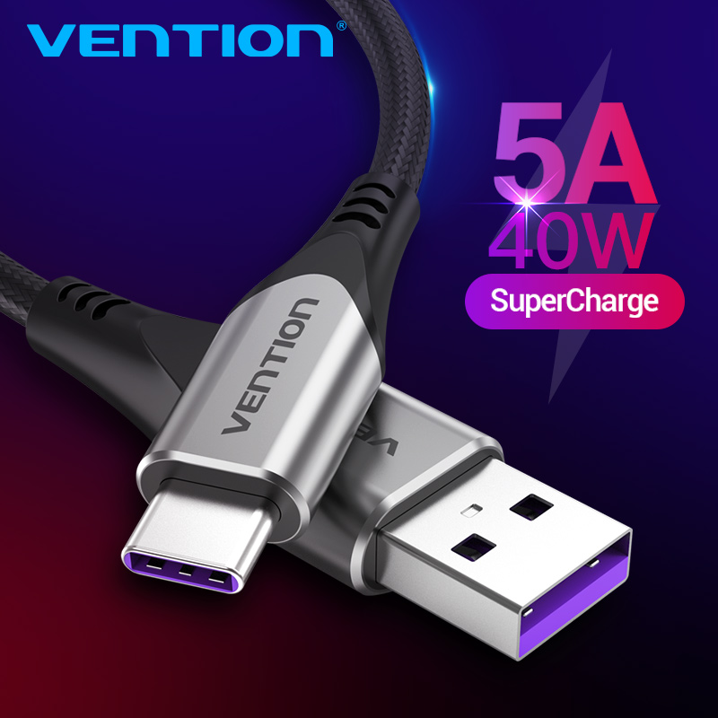 Vention 5A Type C Cable for Huawei Mate 30 20 P30 P20 Xiaomi Samsung USB C Fast Charging Cable Mobile Phone USB Type-C Cables 3A