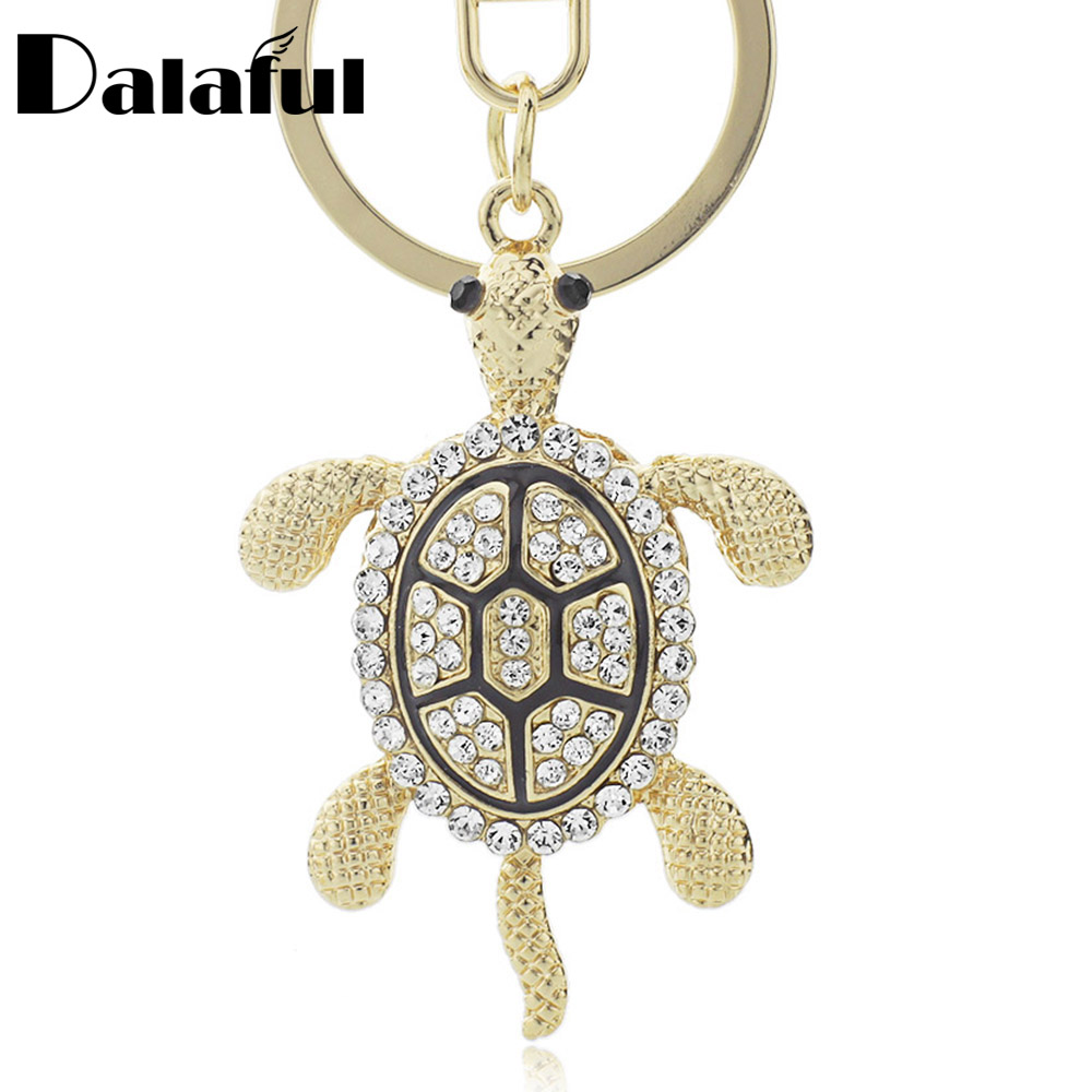 Dalaful Lovely Turtle Tortoise Keyrings Keychains Crystal Bag Pendant Key Chains Holder Rings For Car K316
