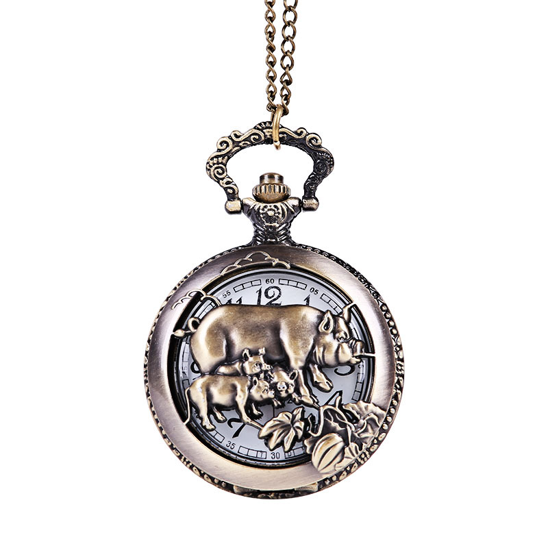 Bronze Vintage Exquisite Embossed Hollow Classic Pocket Watch Large Embossed Three Pig Classic Style Pocket Watch