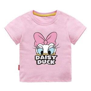 Image 2 - หญิงชุดการ์ตูนเป็ดพิมพ์เสื้อฤดูร้อน & Sequins Broken Holeกางเกงยีนส์กางเกงขาสั้นเด็กวัยหัดเดินเสื้อผ้าเด็กชุดเด็กเสื้อผ้า