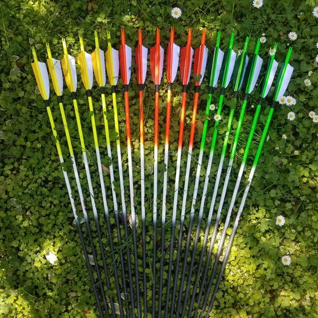 Flecha de carbono para tiro con arco Linkboy sp500, 12 Uds., 32 pulgadas, punto objetivo de pluma de pavo, puntas de 75gr, Nock para caza de arco largo tradicional
