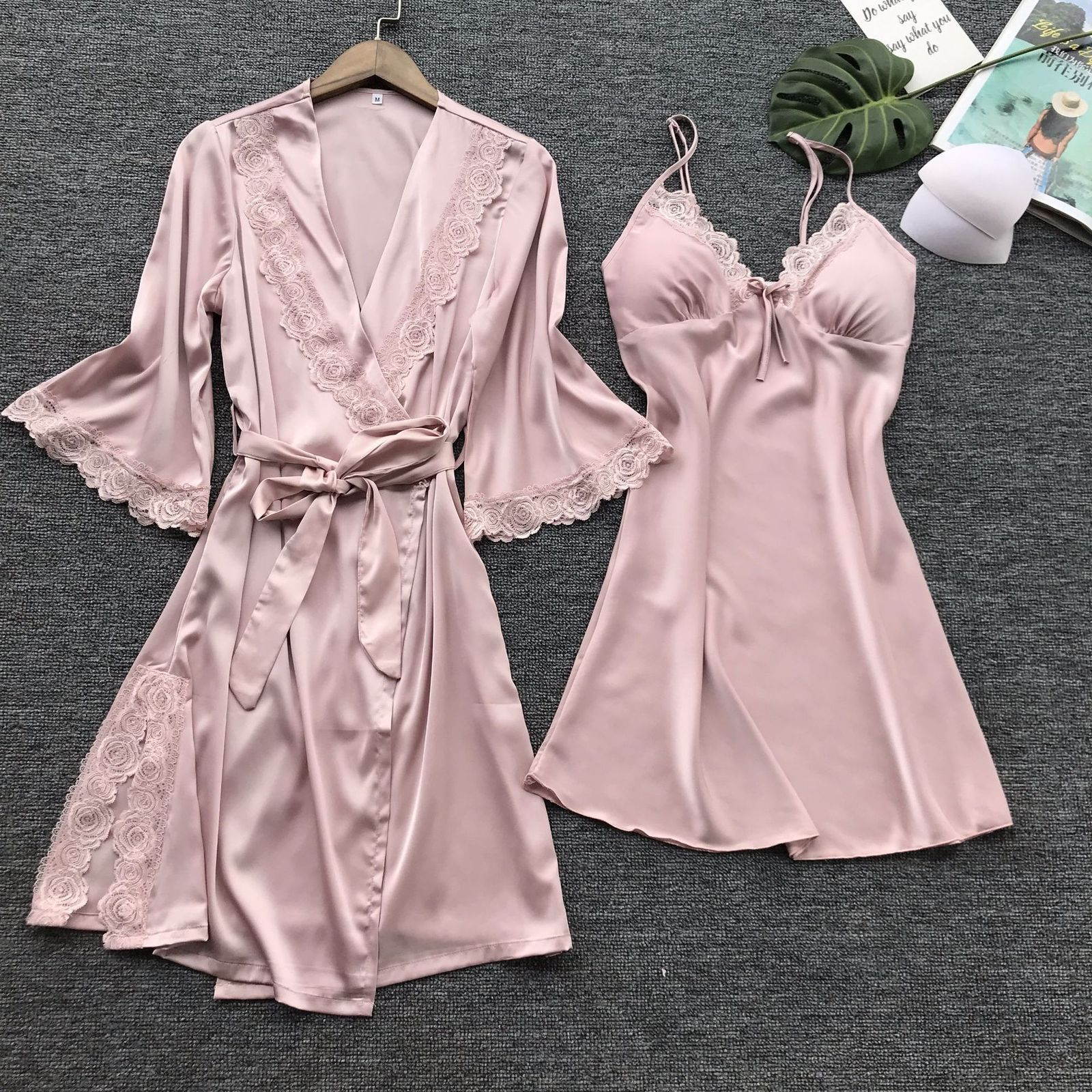 2019 Spring Autumn Satin Sexy Lingerie Women Pastel Goth Silk Lace Robe Solid Dress Nightdress Sleepwear Kimono Gown Sets Robe Gown Sets Aliexpress