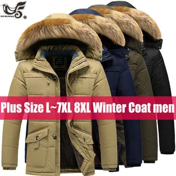 Plus rozmiar 6XL 7XL 8XL kurtka zimowa mężczyźni gruba ciepła parka futro męska bluza z kapturem płaszcz zimowy bawełniane kurtki przeciwdeszczowe mężczyźni odzież tanie i dobre opinie XIYOUNIAO COTTON Poliester 1 3kg REGULAR Na co dzień STANDARD Kieszenie Zamki Stojak Hat odpinany Patchwork zipper mens jackets and coats