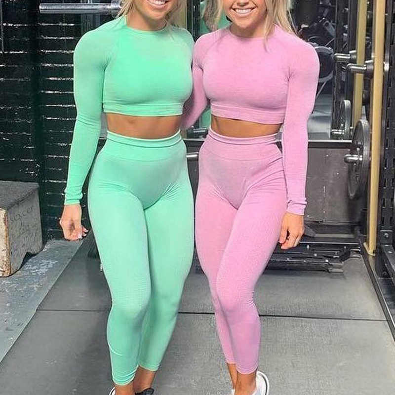 Seamless yoga set 2020 Women Fitness Sports Suits GYM Yoga Long Sleeve Shirts High Waist Running Leggings Workout Pants Female