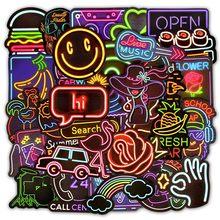 10/30/50 pçs luz de néon adesivos para latas carro adesivos telefone das crianças skate crianças frigorífico japão anime adesivo conjunto