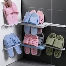 Shoe-Organizer Rack Storage Slippers-Holder Wall-Mounted Folding Bathroom Self-Adhesive