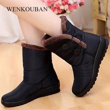 Зимняя женская обувь, зимние ботинки, женские водонепроницаемые теплые ботильоны на танкетке, плюшевая обувь на платформе, женские зимние ботинки 2020