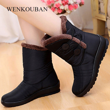 Winter Women Shoes Snow Boots Ladies Waterproof Warm Ankle Boots Wedges Platform Plush Shoes Ladies Botas Mujer Invierno 2020