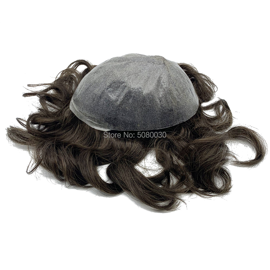 Indian Human Remy Hair Invisible Thin Skin Injected Knot Toupee In Stock